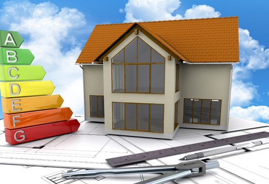3D render of a house on plans against a blue cloudy sky